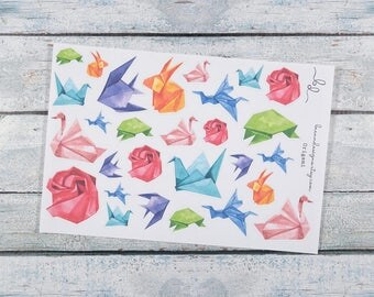 Origami Stickers, Japanese Paper Crafts, Watercolour Origami, Decorative Planner Stickers