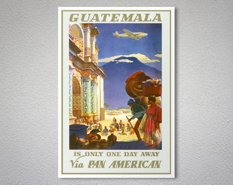 Guatemala via Pan American World Airways (PAA)  Vintage Travel Poster - Poster Print, Sticker or Canvas Print / Gift Idea