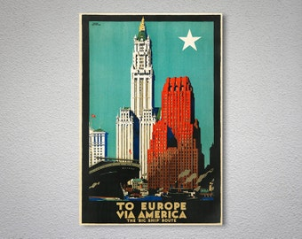 To Europe via America Vintage Travel Poster - Poster Print, Sticker or Canvas Print
