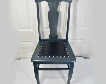 Vintage 1940s Restored Navy Blue Oak Antique Wood Chair Blue Nailed Leather Seat