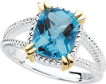 3.00 Carat Natural Cushion Blue Topaz Ring in 925 Sterling Silver and 14K Yellow Gold