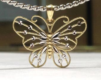 14K Yellow and White Gold Butterfly Pendant