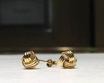GENUINE 14K Gold 6mm Love Knot Stud Earrings