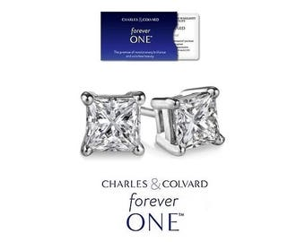 SALE !! 0.80 Carat Moissanite Forever One Stud Earrings (with Charles & Colvard warranty)