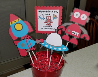 Robots centerpiece, Robots birthday party, Robots banner,robots banner