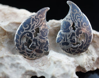Sterling silver 925 Siam Niello Leaf clip on Earrings Vintage Jewelry Art Deco gift x132