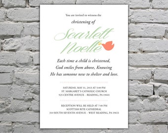 Baptism/Christening Printable Invitation - Spanish and English Versions