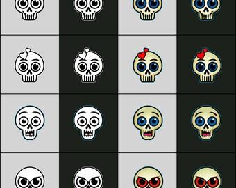 Skullycons Skull Emoticons & Icons - Emotions