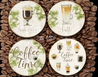 Coasters - Coffee Lovers - Latte, Irish Coffee, Cappuccino, Mocha, Espresso, Coffee Coaster, Coffee Lovers, Anniversary Gift - CO00928