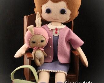Felt doll - Gingermelon doll - Clara doll - girl room decoration - doll with bunny - brown hair doll - girl gift