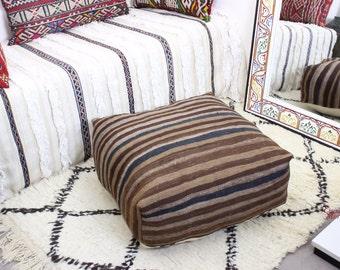 KILIM VINTAGE marroquí PUF rellenada o cubierta sólo hecha a mano tejida a mano (60 cm x 60 cm x 25 cm) (VKP102)