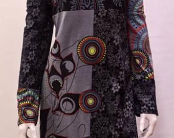 Hippie Boho Patchwork pyschedelic floral optical tunic cotton dress xxl 12 14 black