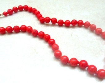Vintage Cherry Red Hand Knotted Glass Bead Necklace.