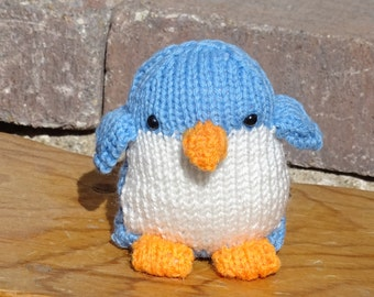 Hand Knitted Penguin, Stuffed Animal, Small Toy, Blue  Baby Toy, Stuffed Penguin, Knit Penguin, Plush Toy, Ready to Ship, Made in USA