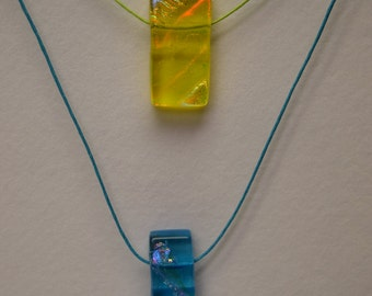 Aqua or Yellow Dichroic Glass Pendant Necklace