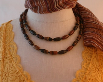 """Womens beaded necklace, brown jasper, black spinel, stainless clasp, the """"STEFANIA"""" women necklace by Rochelle Fiorito Necklaces."""