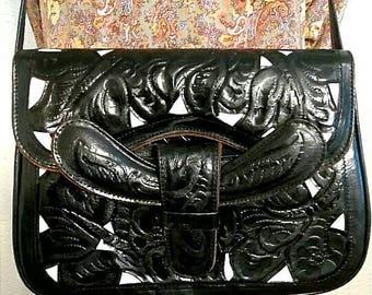 Hand Tooled Black Leather Purse