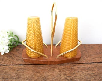 ceramic cruet set on teak stand, 1970's retro vintage