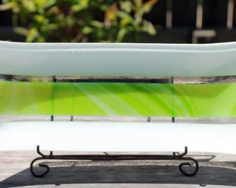 Green Apple Swirl Fused Glass Serving Dish, OOAK Fused Glass Dish