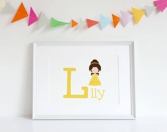 Personalised Princess A4 Wall Art Print Child / Nursery Room