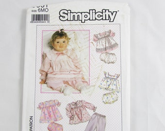 Vintage Simplicity Pattern 9351, Baby Girl Pants, Top, Pinafore, Bloomers - Uncut