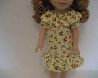 14.5 Inch Doll Clothes - Tiny Flowers Peasant Style Dress made to fit Wellie Wishers doll clothes