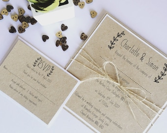 Sample // Olive Rustic Invitation with added RSVP