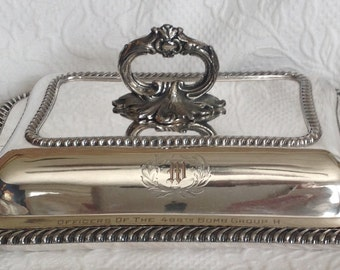 WWII Officer's Silver Plate Covered Server