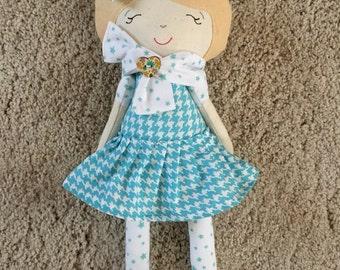 Felt and fabric doll-soft doll-handmade doll