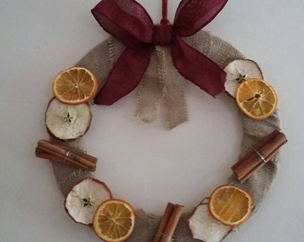 Christmas Wreath,Door Wreath,Christmas,Wreath,Home Decor,Handmade,Dried Fruit,Indoor Wreath,Burlap Wreath,Handmade Wreath,Cinnamon Sticks