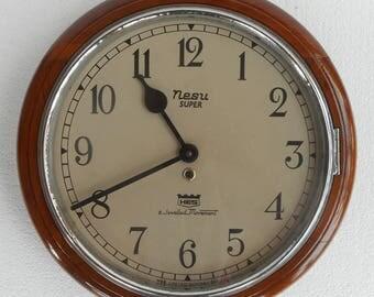Antique Clock Wall Nesu Super HES wood case working bezel metal diameter of clock  working condition. Stock No.. Wc1