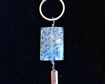 Dragons Vein Agate Keychain/ Namaste Chakra Healing Crystal Keychain/ Dragons Vein Agate Cabochon/ Dragons Vein Agate Stone/Crystal Keychain