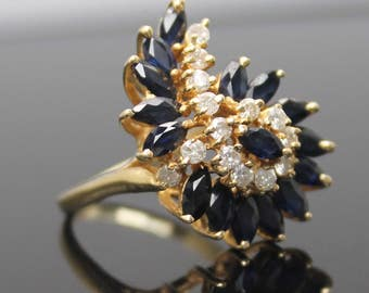 LUXURY GIFT IDEA !! Estate Magnificent 0.42 ctw Genuine Diamonds with 2.0 ctw Genuine Sapphires Solid 14K Yellow Gold Cluster Ring Size 6.75