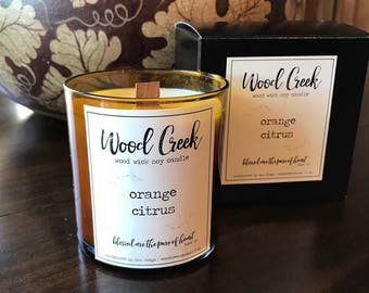 Orange Citrus Wood Wick Soy Candle, Hand-Poured and Handmade Candle, Lovely Gift Idea, Minimalist Apothecary Label