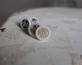 Monogrammed Stud Earrings- Preppy Monogrammed Earrings- Hypo- Allergenic- Personalized Earrings