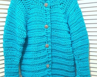 Women's crocheted cardigan jacket in turquoise.women's turquoise cardigan in size M/L, rhinestone buttons and bell sleeves,mothers day gift