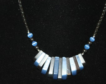 A6 Blue and Black Silver Tone Necklace Moonglow Screw Barrel Clasp Hematite
