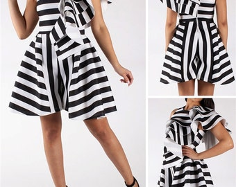 Stripe One Shoulder Ruffle Romper