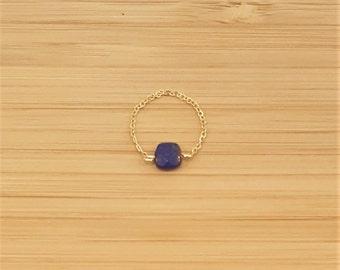 Lapis Lazuli gold plate chain ring