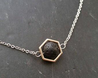 Hexagon & Lava Essential Oil Necklace Diffuser --- Lava Rock Aromatherapy Jewelry pendant