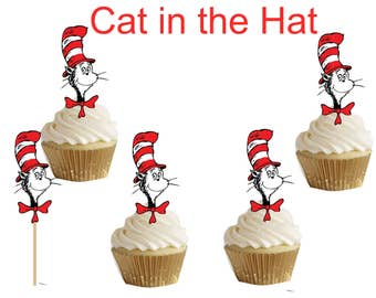 Cat in the Hat of Dr. Seuss cupcake/cakepop toppers 24pcs