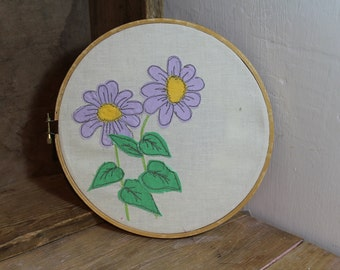 Pretty applique art, purple flowers, fabric art