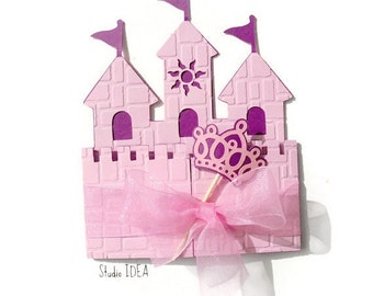 12 Princess Castle Invitation-Card with Crown Wand & Ribbon - CHOOSE YOUR COLORS -Set of 12