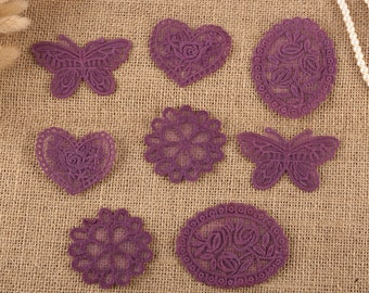 8 x Vintage Mixed Purple Lace Motifs Patches Sewing Sew on Stick on Crochet