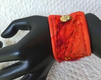 """Wrist cuff 6 1/2"""", fiber art bracelet, art to wear cuff, textile art cuff, fiber jewelry, Cuff bracelet, OOAK, Wearable art #32"""