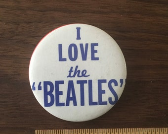 I Love The Beatles Vintage Button Pin Pinback