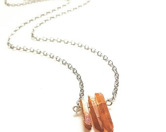 Quartz Necklace // Triple Quartz Necklace // Quartz Jewelry // Orange Quartz Necklace // Orange Crystal Jewelry