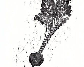 Beetroot woodblock print, black, woodcut, Japanese, hand pulled print, nature, printmaking, vegetable, leaves