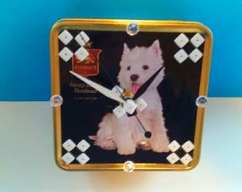 Repurposed Vintage Shortbread Tin Box Clock, Recycled Tin Clock, Functional Art, Handmade Clock, Recycled, Scottie Dog Clock, Made By Mod.