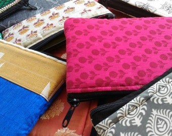 Set of ten cosmetic pouches made from cotton fabric from India boho/ hippie/ handmade/ tribal/ banjara/ Ready to ship!!